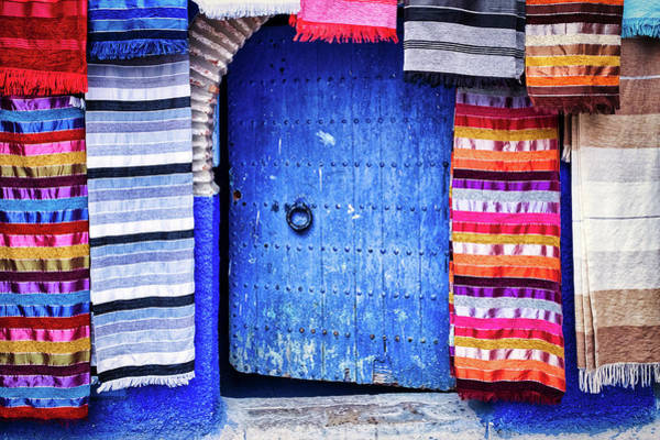 Photograph - Blue Door And Tapestries - Morocco by Stuart Litoff