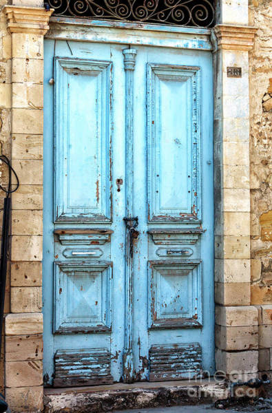 Photograph - Blue Door In Limassol Cyprus by John Rizzuto