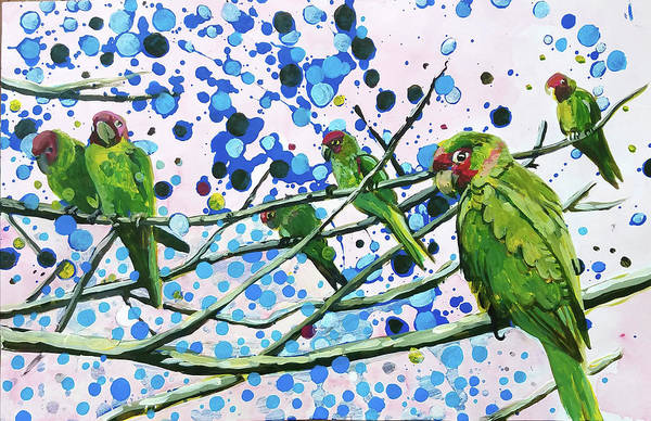 Painting - Blue Dot Parakeets by Tilly Strauss