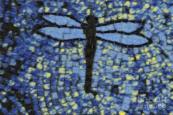 Wall Art - Digital Art - Blue Dragonfly Art Fantasy 1 by Eve Paludan
