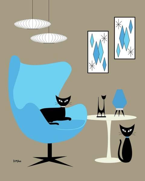 Wall Art - Digital Art - Blue Egg Chair With Cats by Donna Mibus