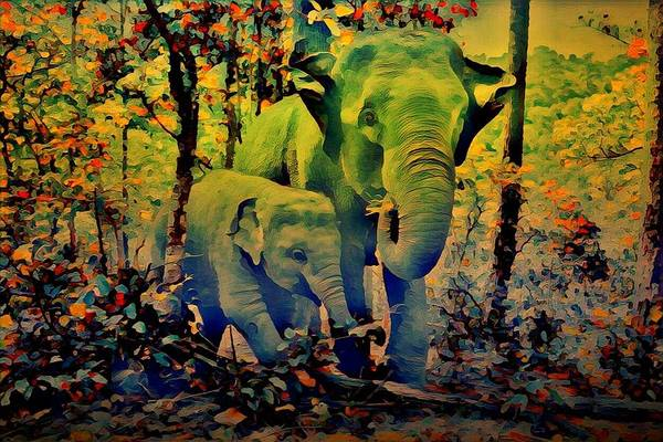 Mixed Media - Blue Elephant by AE collections