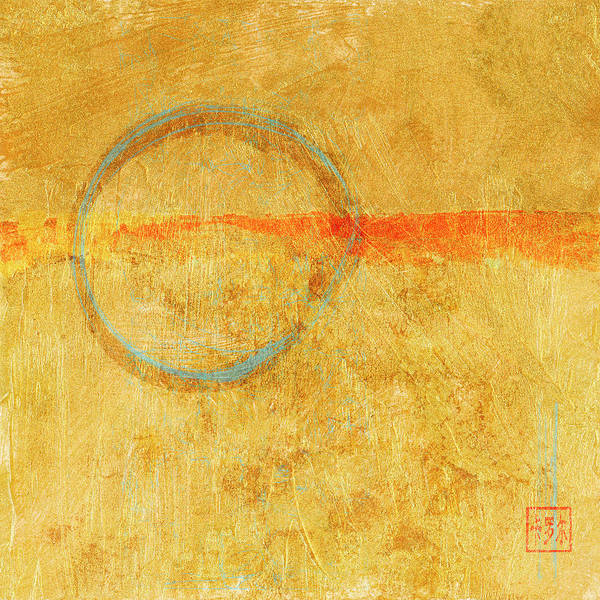 Wall Art - Mixed Media - Blue Enso On Plaster by Carol Leigh