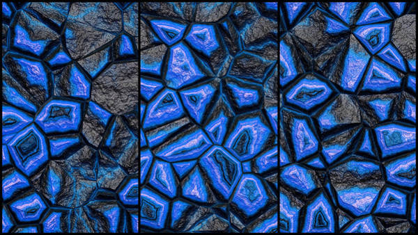 Digital Art - Blue Fantasy Stone Wall Triptych by Don Northup