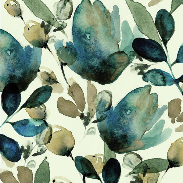 Wall Art - Painting - Blue Floral by A.v. Art