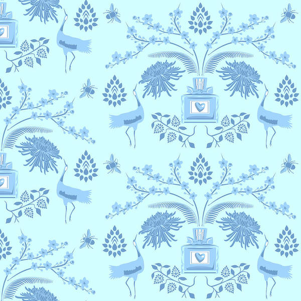 Wall Art - Digital Art - Blue Floral Scent by Claire Huntley