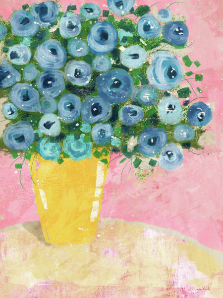 Wall Art - Mixed Media - Blue Flowers In A Yellow Vase- Art By Linda Woods by Linda Woods
