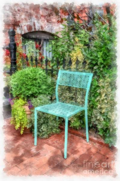 Wall Art - Photograph - Blue Garden Chair Watercolor by Edward Fielding