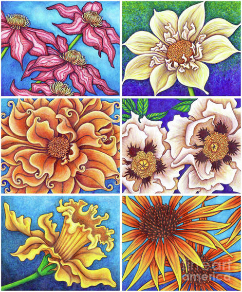 Painting - Blue Garden Patchwork 1 by Amy E Fraser