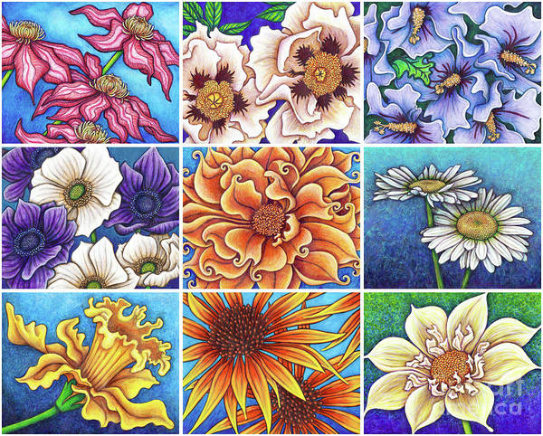 Painting - Blue Garden Patchwork 2 by Amy E Fraser