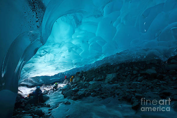 Exploration Wall Art - Photograph - Blue Glacier Ice Cave Near Juneau by Saraporn