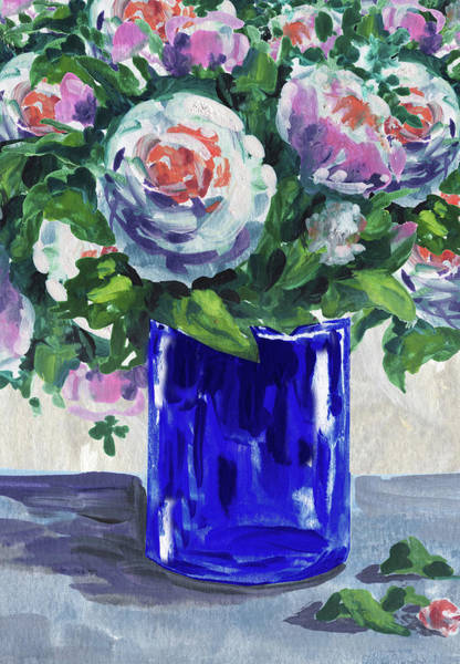 Wall Art - Painting - Blue Glass And Flowers Bouquet Impressionism  by Irina Sztukowski