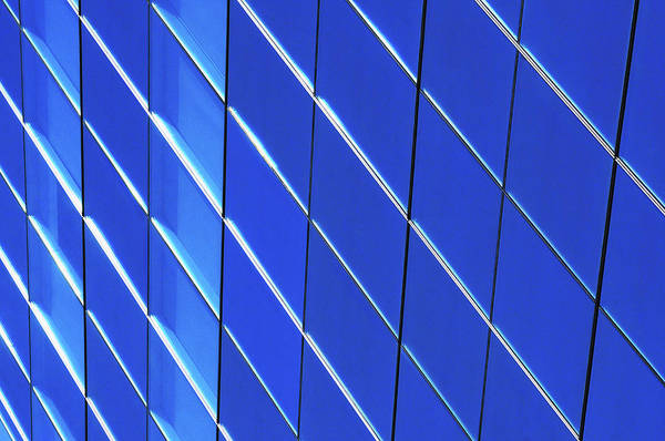 Close Up Photograph - Blue Glass Modern Building by Joelle Icard