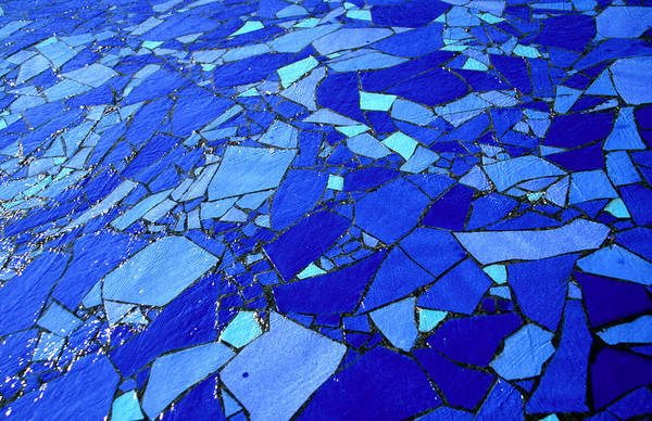 Skane Photograph - Blue-glass Mosaic With Water Flowing by Martin Lladó