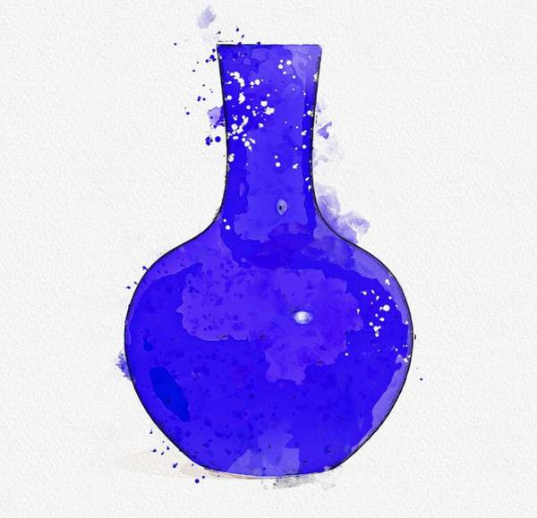 Painting - Blue-glazed Bottle Vase Watercolor By Ahmet Asar by Ahmet Asar