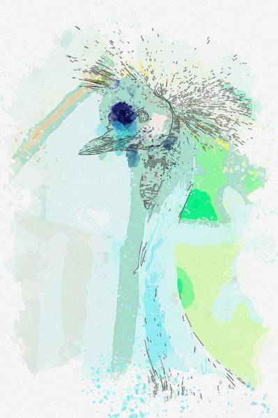 Flycatcher Painting - Blue Goose -  Watercolor By Adam Asar by Celestial Images