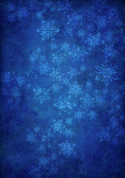 Natural Elements Photograph - Blue Grunge Background With Snowflakes by Mammuth