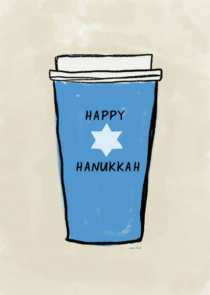 Wall Art - Mixed Media - Blue Hanukkah Coffee- Art By Linda Woods by Linda Woods