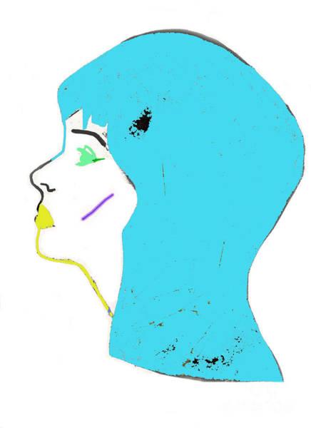 Neon Drawing - Blue Head by Daisy De Villeneuve