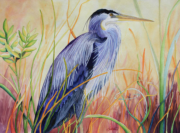 Bullrush Painting - Blue Heron In The Grasses by Patricia Goodman