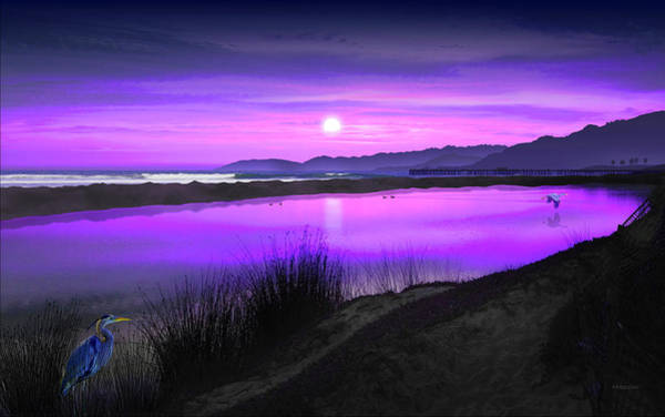 Painting - Blue Heron Lagoon / Pismo Beach, California by David Arrigoni