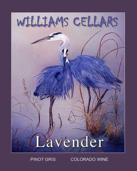 Painting - Blue Heron Lavender Wine Label by Williams Cellars