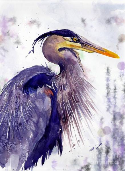 Gull Painting - Blue Heron by Suzann Sines