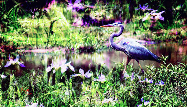 Digital Art - Blue Heron Wetland Magic Landscape by Ginette Callaway