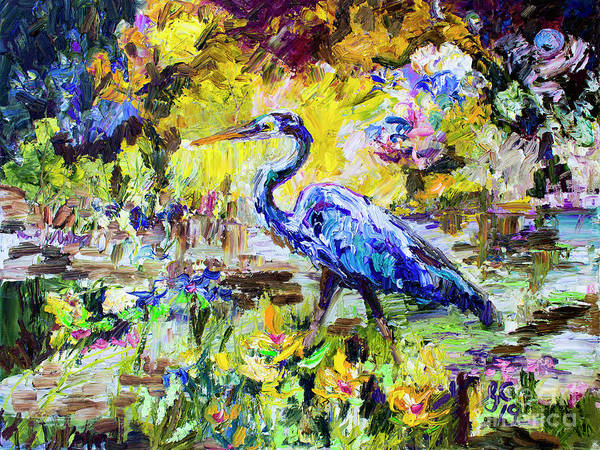 Painting - Blue Heron Wetland Magic Palette Knife Oil Painting by Ginette Callaway