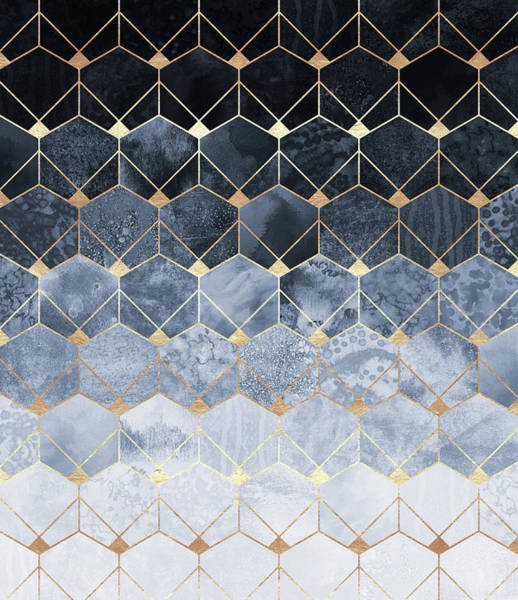 Graphic Digital Art - Blue Hexagons And Diamonds by Elisabeth Fredriksson
