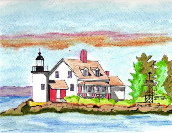 Wall Art - Drawing - Blue Hill Bay Light by Paul Meinerth