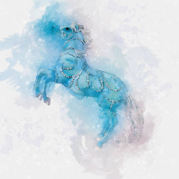 Digital Art - Blue Horse by Ian Mitchell