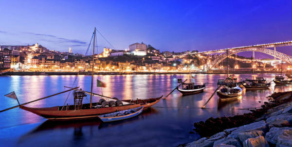 Douro Wall Art - Photograph - Blue Hour At Oporto Porto by All Rights Reserved - Copyright