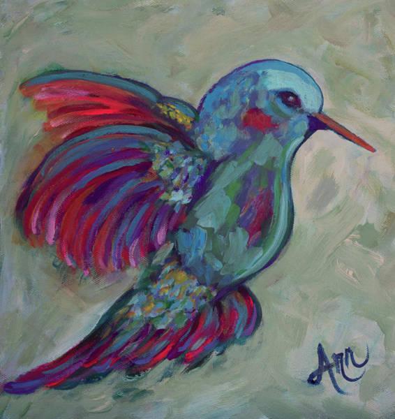 Wall Art - Painting - Blue Humming Bird by Ann Lutz