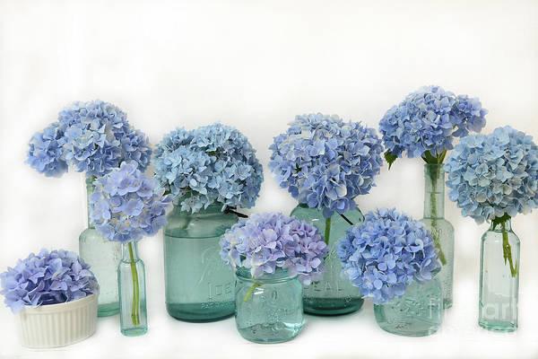 Wall Art - Photograph - Blue Hydrangeas In Aqua Blue Mason Jars - Shabby Chic Hydrangeas Bottle Print by Kathy Fornal