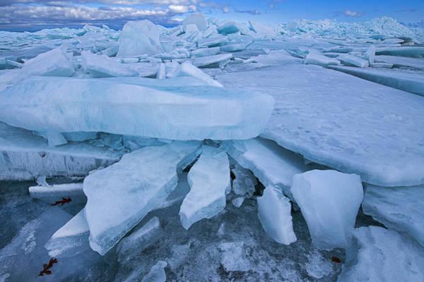 Wall Art - Photograph - Blue Ice Shards Straits Of Mackinac by Dean Pennala