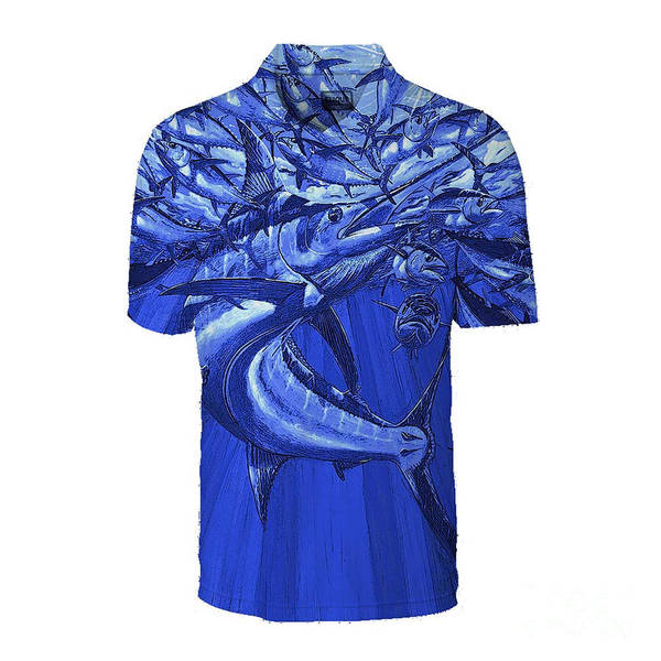 Wall Art - Painting - Blue Intruder Men's Polo by Carey Chen