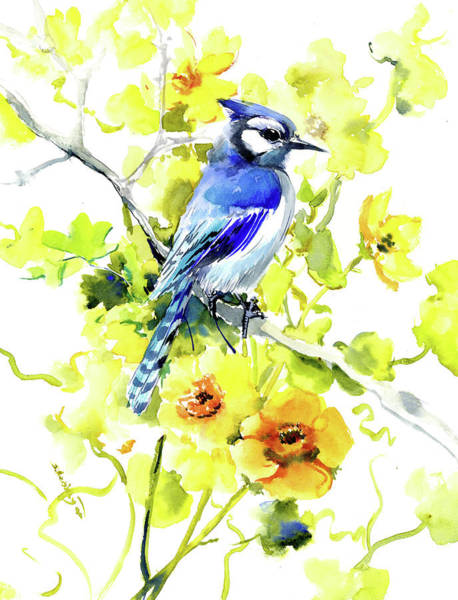 Wall Art - Painting - Blue Jay And Yellow Flowers by Suren Nersisyan