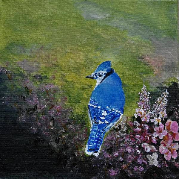 Wall Art - Painting - Blue Jay In Spring by Betty-Anne McDonald