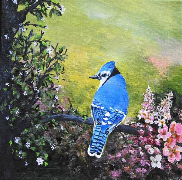Wall Art - Painting - Blue Jay Version Two by Betty-Anne McDonald