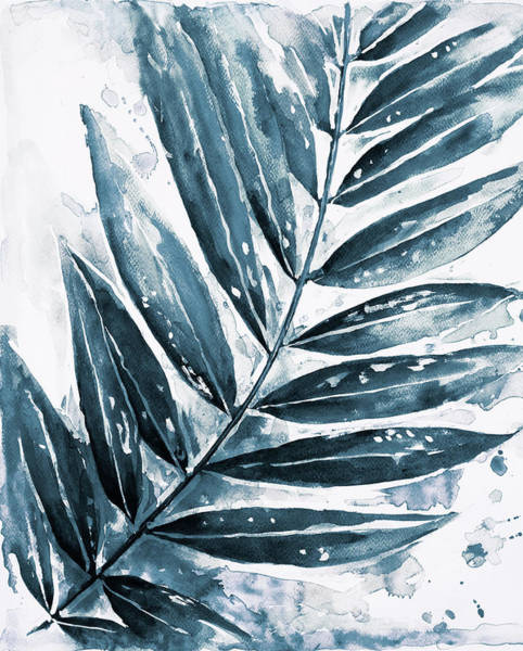 Wall Art - Painting - Blue Jungle Leaf I by Patricia Pinto