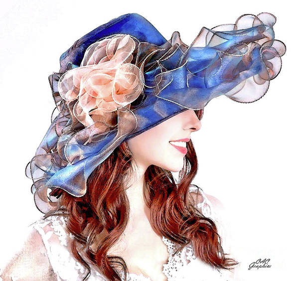 Digital Art - Blue Kentucky Derby Hat by CAC Graphics