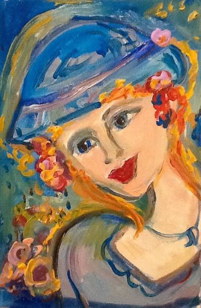 Wall Art - Painting - Blue Lady At Sunset  by Judith Desrosiers