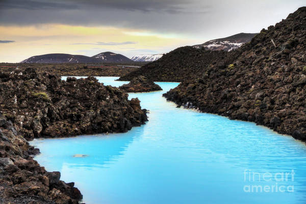 Mineral Wall Art - Photograph - Blue Lagoon Waters In The Lava Field by Dennis Van De Water
