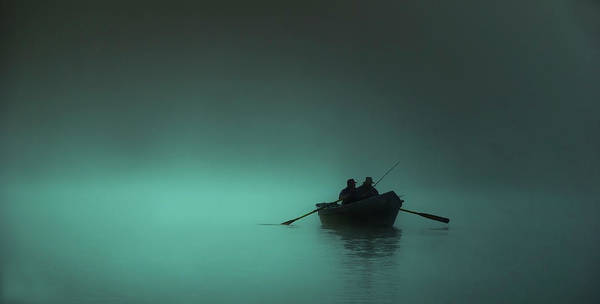 Fog Photograph - Blue Lake Fog With Row Boat by Bill Hinton Photography