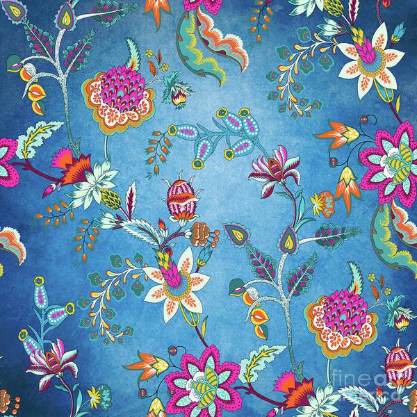 Digital Art - Blue Lapis Velvet Texture Chintz Floral Pattern by Sharon Mau