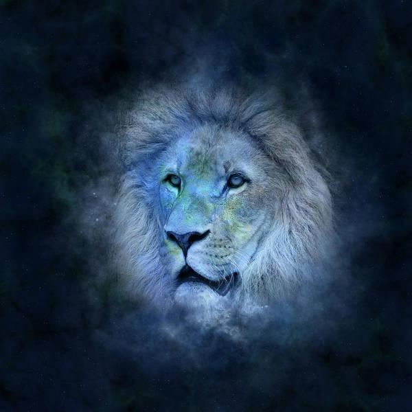 Wall Art - Digital Art - Blue Lion by ArtMarketJapan