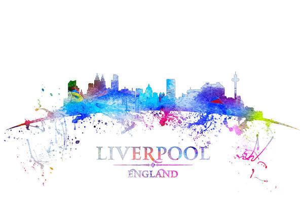 Liverpool Skyline Digital Art - Blue Liverpool by Tim Palmer