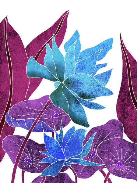 Fauna Mixed Media - Blue Lotus Flower - Botanical, Floral, Tropical Art - Modern, Minimal Decor - Blue, Purple, Indigo by Studio Grafiikka