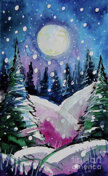 Aurora Borealis Painting - Blue Magic Moon - Winterscape Watercolor - Mona Edulesco by Mona Edulesco